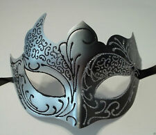 Black Silver Venetian Mask Masquerade Mardi Gras Free Shipping