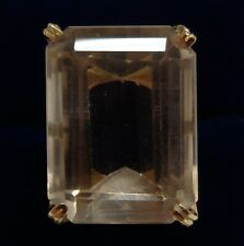 Art Deco Large Citrine Ring 18ct Yellow Gold - Size Q (US 8) - 11.5 grams