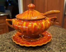 Vintage California Drip Glaze Pottery Soup Tureen - Orange Red Yellow Brown