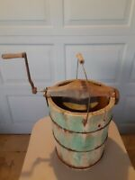 Vintage Antique Wooden bucket iron hand crank Ice Cream Maker USA farmhouse prim