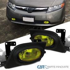 Fit 06-08 Honda Civic 4Dr Sedan Front Bumper Yellow Lens Fog Lights Kit+Switch