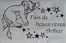 Sticker roi lion, simba fait de beaux rêves avec prénom personnalisé