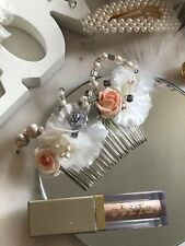 Peach Theme Bridal Hair Comb Button Beaded Floral Handmade Brooch Veil Vintage