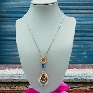 Solid Gold Necklace 18K Citrine Sapphire Appraised $4150 Pear Oval Pendant 12G