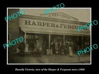 OLD POSTCARD SIZE PHOTO OF DUNOLLY VICTORIA THE HARPER & FERGUSONS STORE c1860