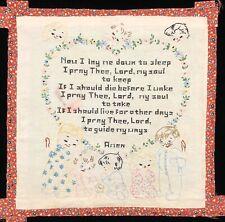 "Vintage 1950's Hand-Embroidered Children's Bedtime Prayer 19x19"" Panel (Rf1049)"