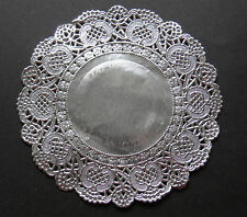 "SILVER FOILED PAPER LACE DOILY CIRCLES 11CM = 4"" X 10"