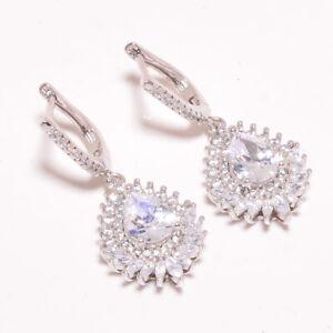 "White Topaz 925 Sterling Silver Earring Jewelry 1.48"" S1934"