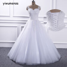Sweetheart Beaded White Ivory tulle Wedding Dress Stock 6 8 10 12 14 16 Custom