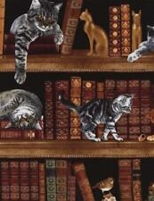 1 Yard Library Study Books With Cats & Kittens Timeless Treasures #6610