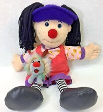 """Big Comfy Couch Loonette Clown 20"""" Doll Yarn Hair Dust Bunny 4"""" Plush Vtg 1995"""
