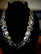 """KJL Gold Rings with Turquoise Colored Stone NECKLACE 24"""" w/Matching Earrings 2"""""""