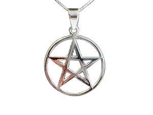 Sterling Silver (925) Pentagram Pendant ( 12  mm ) + Silver Chain !!   New !!