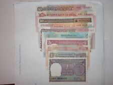 """- INDIA PAPER MONEY - 10  """"OLD""""  CURRENCY  NOTES - RS:50, 20, 10x3, 5 ,2x2 & 1x2"""