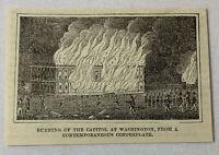 small 1887 magazine engraving ~ BURNING OF THE CAPITAL, WASHINGTON DC