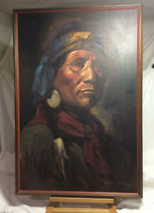 Rare Zavaleta Native American Indian Oil Painting Art Chief Joseph Nez Perce ?