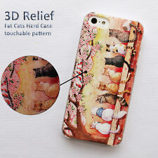 """Luxury Cute Look Cats 3D Relief Design Case Cover For iPhone 6 6S 4.7""""+3x Film"""