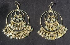 Quirky Boho Gypsy Bellydancer Style Antique Gold Star Fringe Hoop Earrings