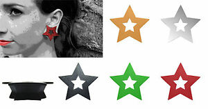 GeoGauges Brand Star Shaped Silicone Tunnels Ear Plugs Gauges Body Jewelry