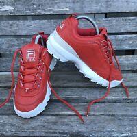 Fila Disruptor Ladies Womens Red White Chunky Trainers Size Uk 6 EU 39.5