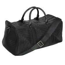 Men's Black Faux Woven Leather Duffle Bag Gym Travel Cabin Shoulder Handbag