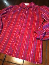 Vintage 80s Lady Arrow Size 14 Button Up Long Sleeve Polyester Shirt Large Red
