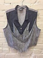 Vintage 80s L Western Sleeveless Blouse Rough Rider Circle T rockabilly black/wh