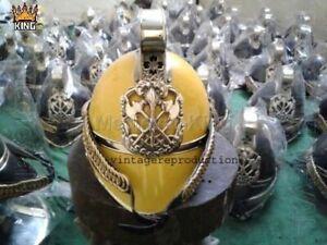 Fire Bridge British Brass  Yellow Finish Fireman Helmet Soft Liner Nautical Gift