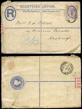 GB QV REGISTERED STATIONERY 1886 RAILWAY HASTINGS STATION OFFICE POSTMARK