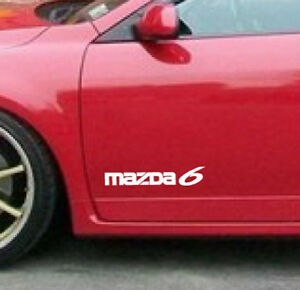 MAZDA 6 Mazdaspeed Wagon Racing Decal sticker emblem logo WHITE (PAIR)