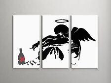 Banksy Drunken Angel Stretched Canvas Triptych Print. BONUS BANKSY WALL DECAL!