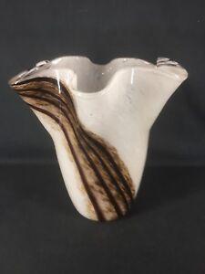 Murano Style Art Glass Vase Free form Rim (ref Y378)
