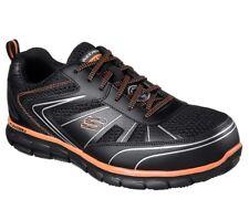 8e56075999bdcf Skechers SYNERGY-FOSSTON Mens Black Orange 77122 BKOR SAFETY TOE Work Shoes