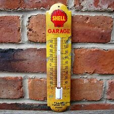 SHELL ENAMEL THERMOMETER GARAGE FILL UP FROM THE PUMP rust petrol oil VAC191