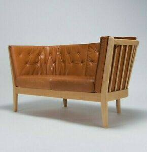 Charming Mid Century Leather Sofa by Stouby Danish Vintage Retro Furniture
