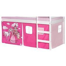 Rideaux cabane pour lit surélevé mi-hauteur tissu coton motif princesse rose