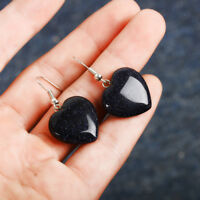 Women Heart Bead Quartz Stone Gemstone Drop Dangle Pink/Black Stone Earrings