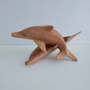 2 x Dolphins Playing Wooden Sculpture Art Decor Hand Carved can be separated.
