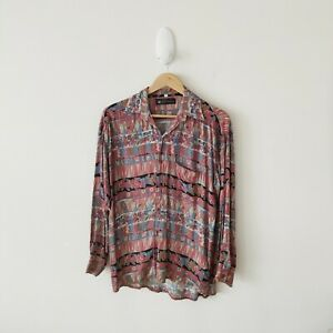 Vintage 90s Hipster Surf Made In Australia Floral Button Down Long Sleeve Shirt