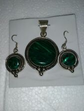 Pendent &earrings w/three silver balls Beautiful Mexican Nickel Silver Malachite