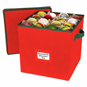 Christmas Ornament Storage Box with Lid - Fit up to 64 Ornaments Holiday Cube -