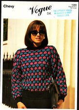 Vintage Knitting Pattern,  Chevy, Ladies Sweater, 30-45in 1089