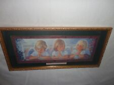 Home Interiors '' Three Girl Angels Praying  '' Picture  10'' x 21''  Gorgeous
