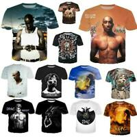 Fashion Women Men 3D print 2PAC TUPAC Funny Casual T-Shirt Short Sleeve Tops