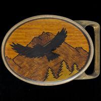 Eagle Bird Tech Ether Von West Inlaid Wood Inlay Brass 70s Vintage Belt Buckle