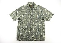 Woolrich Mens XL Shirt Tropical Leaf Button Down Short Sleeve Hawaiian Camp