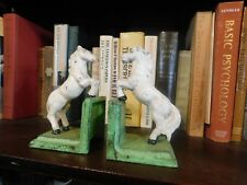 Pair White Horse Vintage Bookends, Cast Iron, Hand Painted