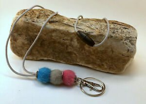Pink Gray Turquoise Beaded ID Badge Key Holder BREAKAWAY Lanyard