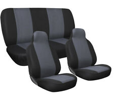 Car Seat Covers Gray and Black Complete Full Set For Auto Vehicle Upholstery