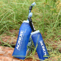 Sport Soft Water Bottle Folding Flask BPA Free TPU for Running Hiking Cycling #P